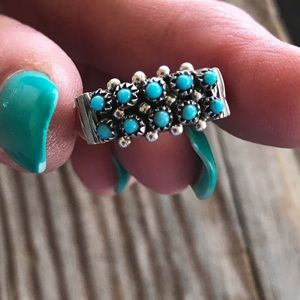 Zuni Sterling Silver Turquoise Snake Eye Ring